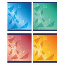 Тетрадь А5 48 л клетка, скоба, блок офсет-2, синий/зеленый/желтый/красный