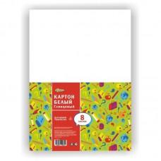 Картон белый №1School Отличник, А4, 8л, мелованный