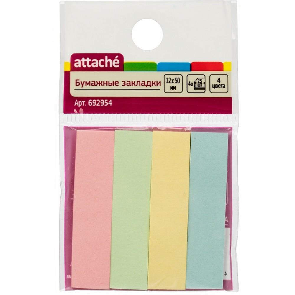 Закладки бумажные 12*50 мм, 4 цвета по 25 л., клейкие