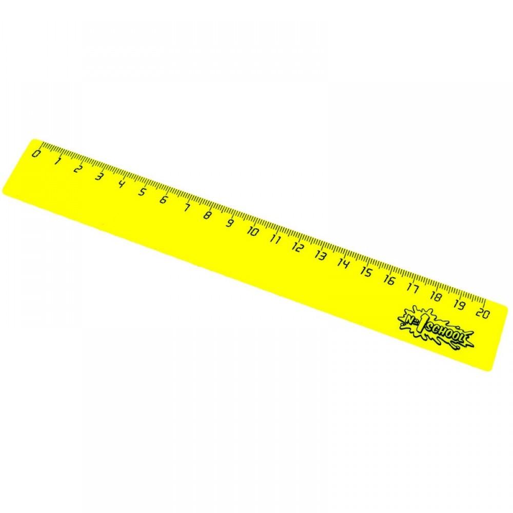 Линейка 20 см №1 School пластик желтый