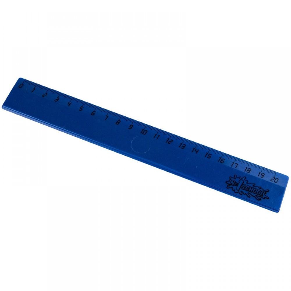 Линейка №1 School, 20см, пластик, синий