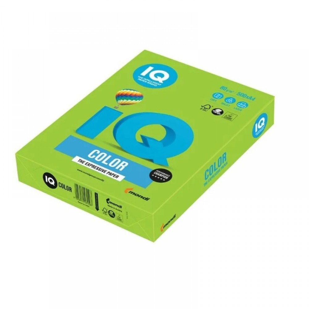 LG46 Бумага цветная IQ COLOR, зеленая липа, 80 г/м2, А4, 500 л