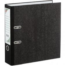 Папка-регистратор мрамор ЭКО 75 мм с метал. уголком, черный, картон 1,75 мм