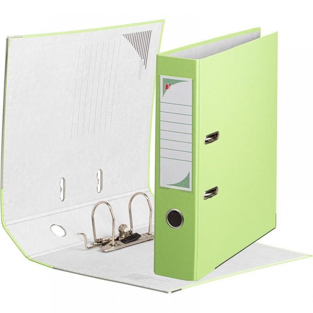 Папка-регистратор ПВХ ЭКО 75 мм с металлическим уголком, светло-салатовый