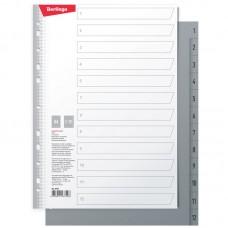 Разделитель листов Berlingo А4, 12 листов, цифровой 1-12, серый, пластиковый