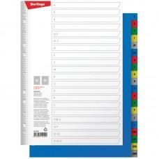 Разделитель листов Berlingo A4, 20 листов, алфавитный А-Я, цветной, пластиковый