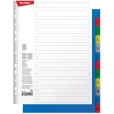 Разделитель листов Berlingo А4+, 12 листов, цифровой 1-12, цветной, пластиковый
