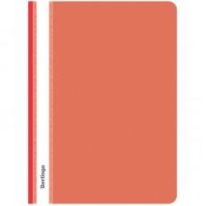 Папка-скоросшиватель пластик. с прозрачным верхом Berlingo, А4, 180мкм, красная