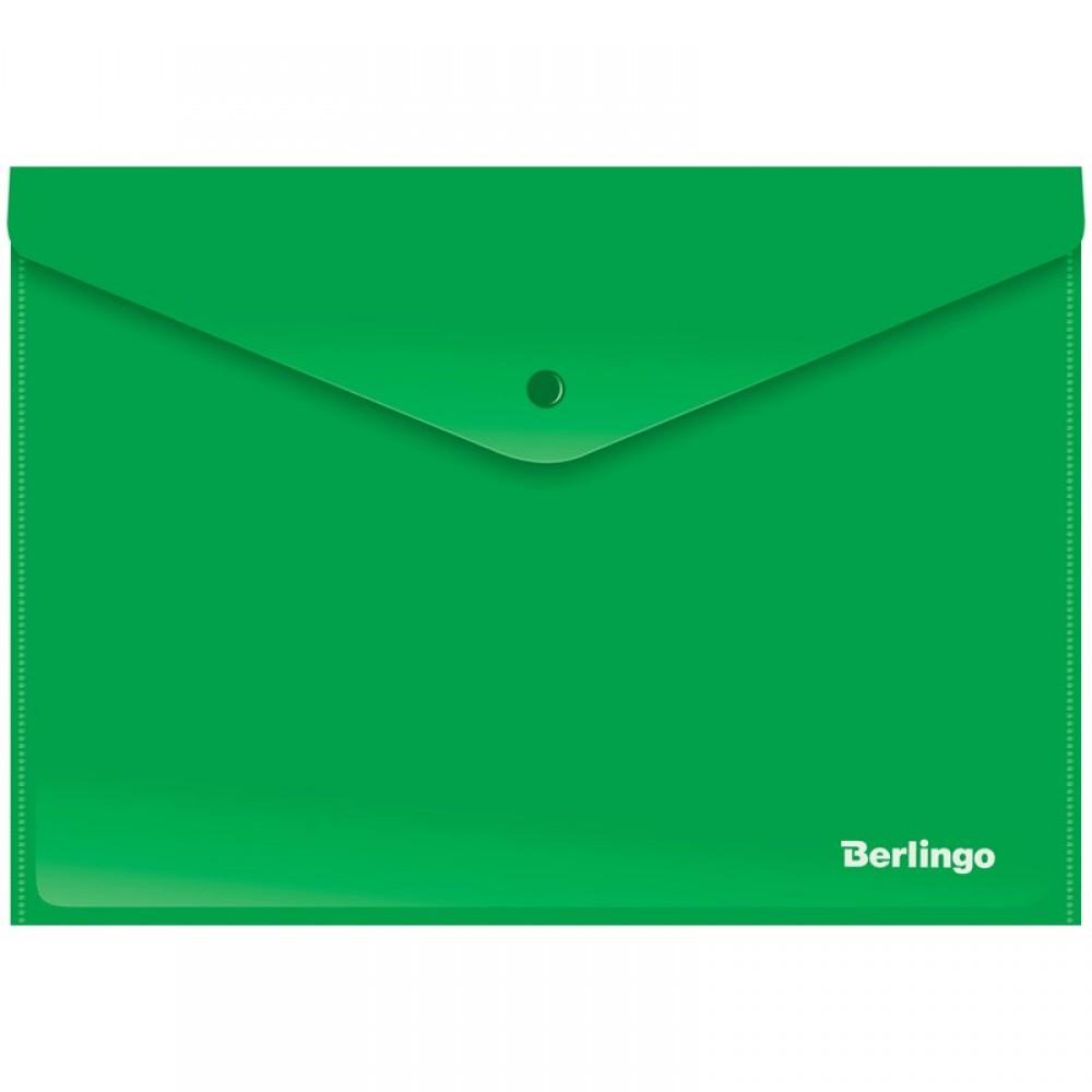 Папка-конверт на кнопке Berlingo, А4, 180мкм, непрозрачная, зеленая
