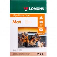 Фотобумага А4 для струйных принтеров LOMOND 230 г/м2 (50 л) матовая односторонняя