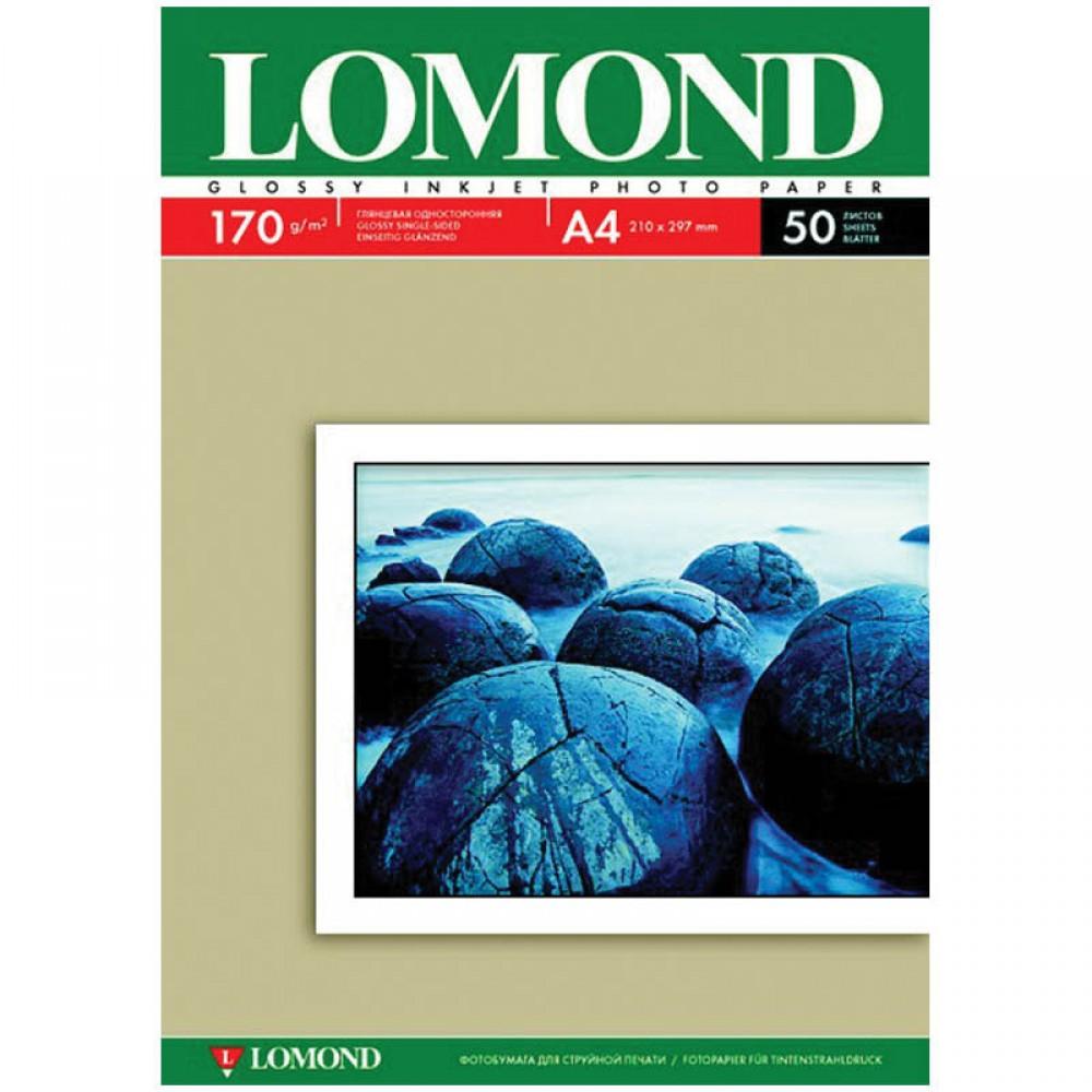 Фотобумага для струйных принтеров LOMOND, A4, 170г/м2, 50л, глянцевая, односторонняя