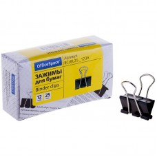 Зажимы для бумаг 25мм, OfficeSpace, 12шт., черные, картонная коробка