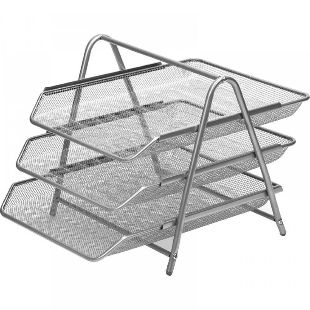 Лоток для бумаг горизонтальный Attache 3-х уровневый, металл сетка, серебро