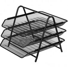 Лоток для бумаг горизонтальный Attache 3-х уровневый, металл сетка, черный