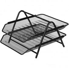 Лоток для бумаг горизонтальный Attache 2-х уровневый, металл сетка, черный