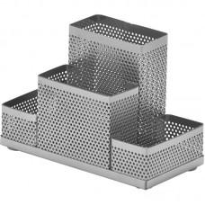 Подставка Attache 4х-секционная для канц.принадлежностей, башня, серебро