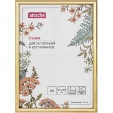 Рамка пластиковая Attache A4 (21x30), ПЭТ, золотая