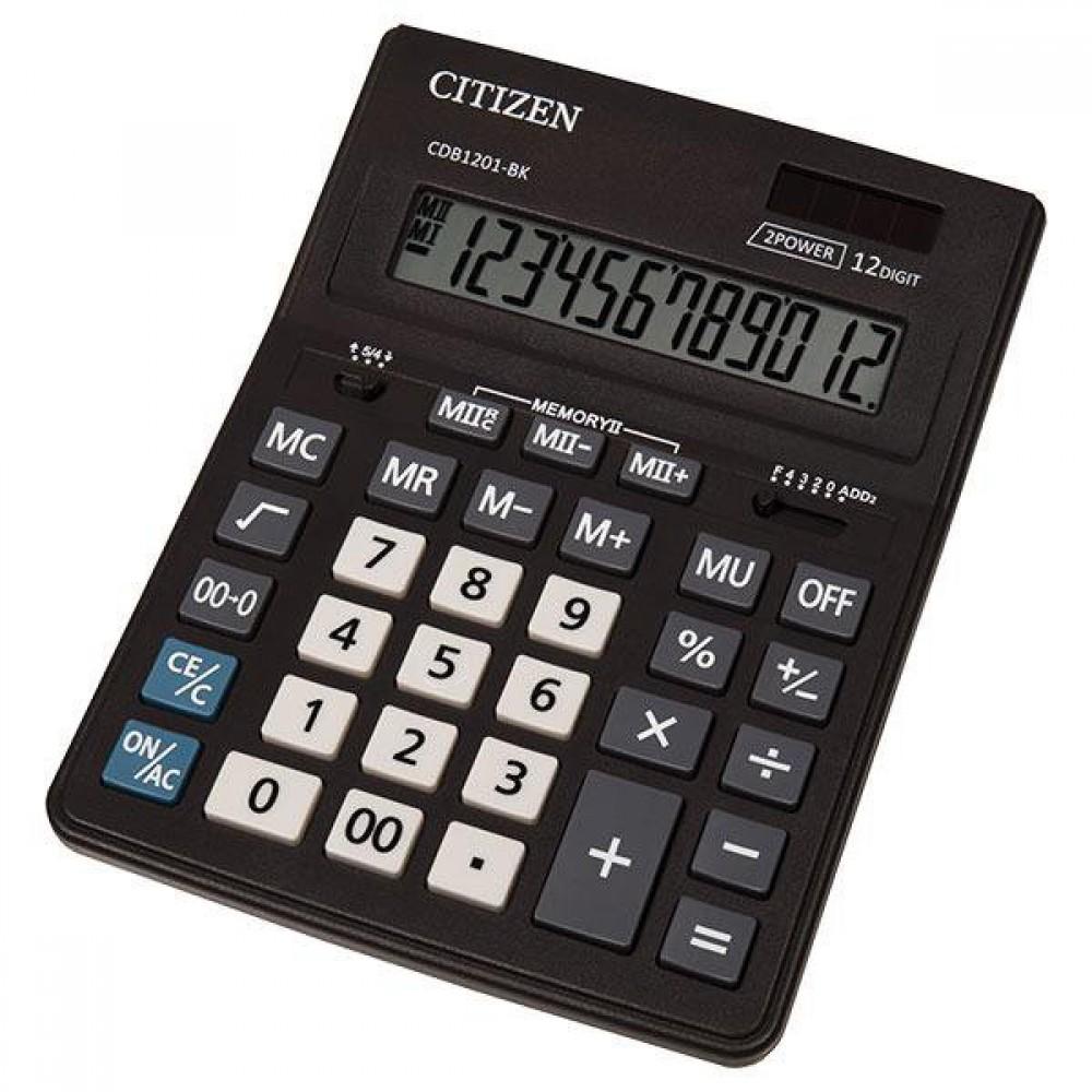 Калькулятор Citizen CDB 1201 BK 12 разрядов, двойное питание, 155x205x35 мм