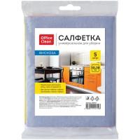 Салфетка для уборки OfficeClean, вискоза, 30*38 см, 5 шт., европодвес