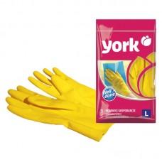 Перчатки резиновые York, суперплотные, с х/б напылением, р. L, желтые, пакет с европодвесом